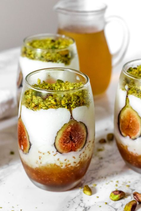 (notitle) Lebanese Mahalepi (milk pudding) with Orange Blossom Syrup and Figs - Baked Ambr .Lebanese Mahalepi (milk pudding) with Orange Blossom Syrup and Figs - Baked Ambrosia lebanese Arabic sweets Lebanese Mahalepi (milk pudding) with Lebanese Desserts, Lebanese Cuisine, Lebanese Recipes, Arabic Dessert, Arabic Sweets, Arabic Food, Ramadan Sweets, Ramadan Recipes, Just Desserts