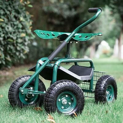 Green Outdoor Garden Swivel Seat Rolling Wheels Weeding Chair Planting Yard Lawn Outdoor Garden Swivel Seating Garden