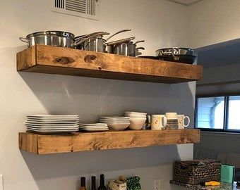 Wood Floating Shelves 3 Inches Thick 10 Inch Deep Rustic Shelf Farmhouse Shelf Reclaimed Wood Floating Shelf Handmade Shelf Wood Rustic Floating Shelves Wooden Shelves Wood Floating Shelves