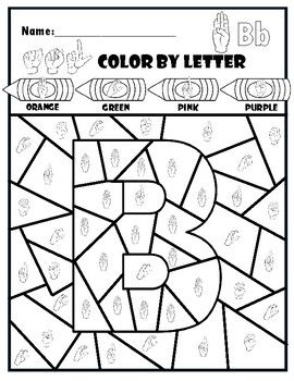 Asl Color By Letter Abc Freebie Sign Language For Kids Sign Language Colors Color By Letter Kindergartenworksheets asl coloring pages i