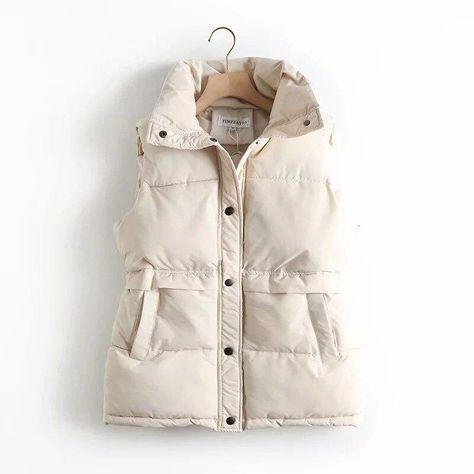Women Sleeveless Jacket Winter Loose Vest Coat Button Up Bodywarmer Cotton Padded Women's Windproof Waistcoat Female Gilets - Beige / S