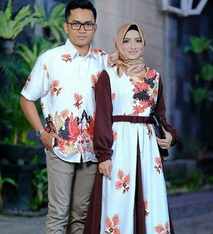 Model Baju Gamis Batik Kombinasi Kain Polos Satin Simple