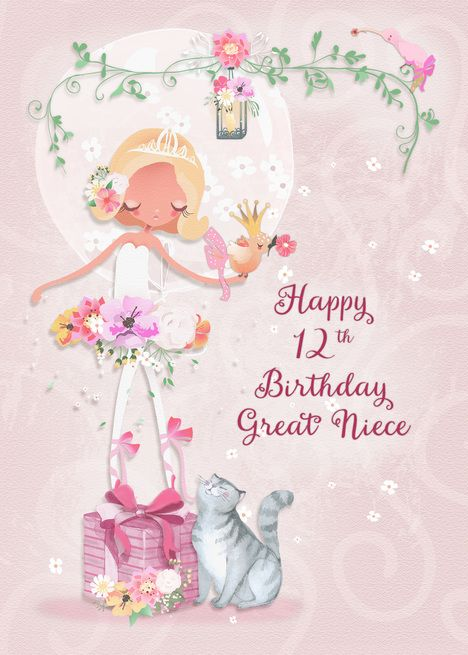 Happy 12th Birthday To Great Niece Pretty Ballerina Card
