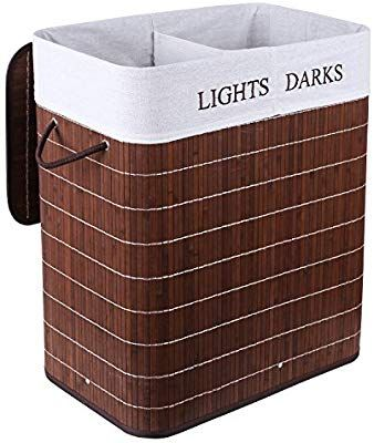 Homfa Bamboo Laundry Basket With 2 Compartments And Dark 100l