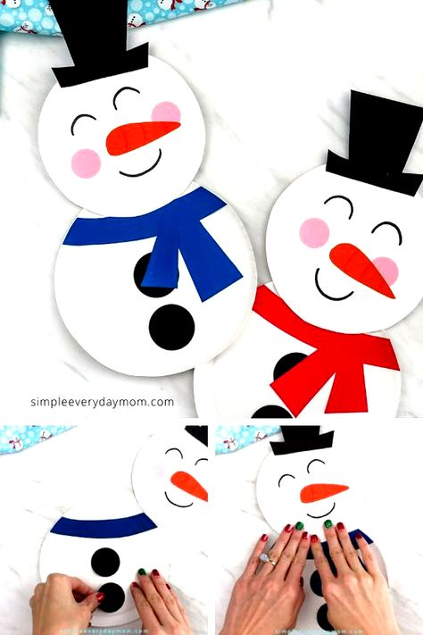 This paper plate snowman craft is a fun winter craft idea for kids... comes with a free printable template. A great craft for school or home. #simpleeverydaymom #paperplatecrafts #snowmancrafts #wintercrafts #kidscrafts #craftsforkids #kidsactivities