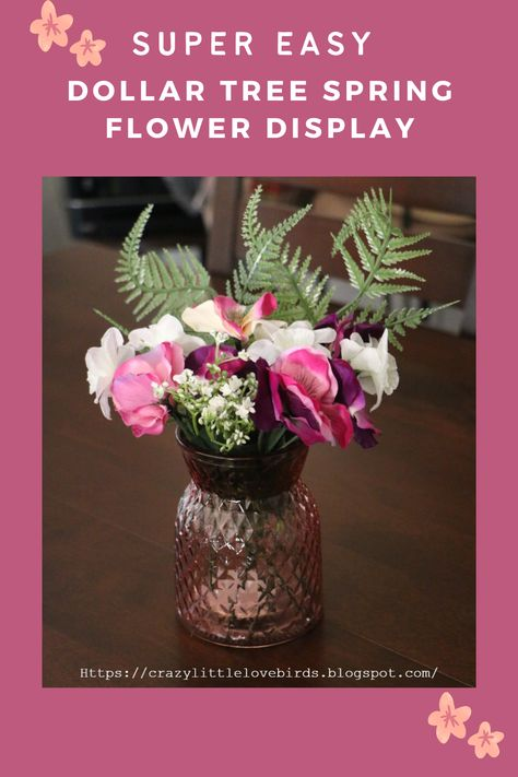 Are you looking to add a pop of color to your home decor, or just a simple Spring flower display? If so this simple DIY creation is perfect for you! #spring #springtime #flowers #artificialflowers #homedecor #decorate #diy #decor #decoration #pretty #vase #Dollartree #budgetfriendly #create