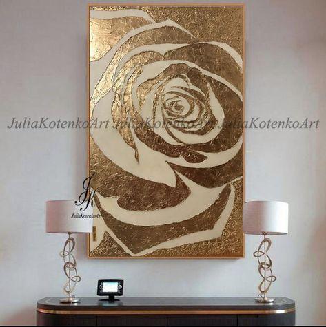 Groot abstract schilderij Rose goud schilderij getextureerde | Etsy
