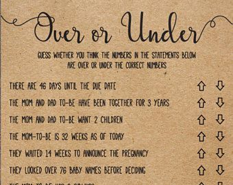 Over or Under, Over or Under Baby Shower Game, Baby Shower Quiz, Coed Shower, Baby Shower Ideas, Instant Download, Gender Neutral, Printable