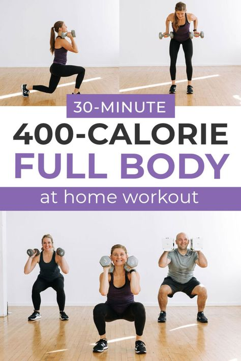 A 30-minute, fat burning, AT HOME CIRCUIT WORKOUT! This time-drop workout alternates dumbbell strength exercises with full body, compound cardio exercises to build muscle and burn calories at home. Circuit training is one of the most efficient forms of exercise to build muscle, burn fat, and lose weight at home.