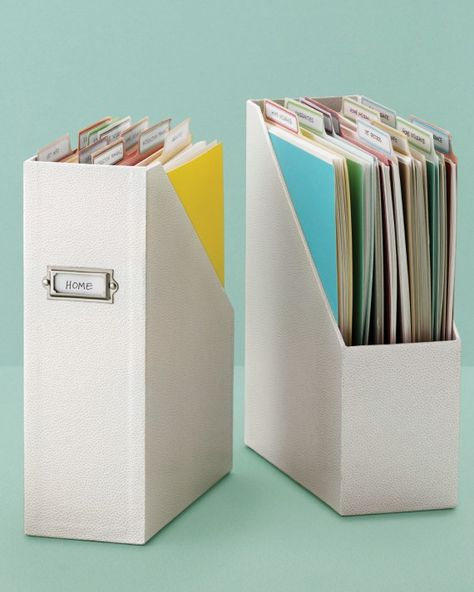 Convert a magazine file into a stylish, compact filing system for forms and important documents that have accumulated over the year. Use our vertical file folders to organize school correspondence, medical records, and more. School Work Organization, File Folder Organization, Desk Organization, File Folders, Classroom Organization, Project Life Organization, File Organiser, Classroom Management, Home Filing System