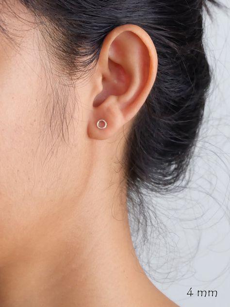 Ring Circle Silver Stud Earrings minimalist by ChanyaAndFriends