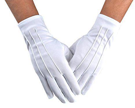 Men/'s White Formal Dress Gloves Tuxedo Band Marching Parade Stretch Nylon New