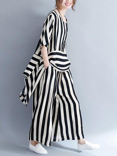 Loose Striped Asymmetric T-shirts+Pants Suit