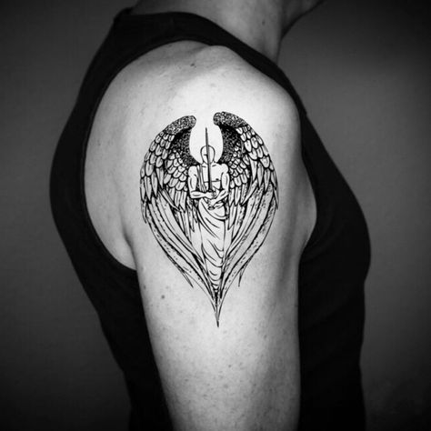 Guardian Angel Temporary Tattoo Sticker (Set of Simple Angel Wings Tattoo