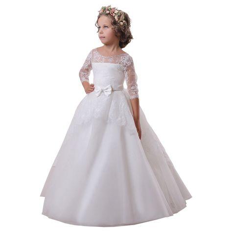 Organza Wedding Flower Girl Bridesmaid Party Formal Dress Age 2-12y 5 Colors 096