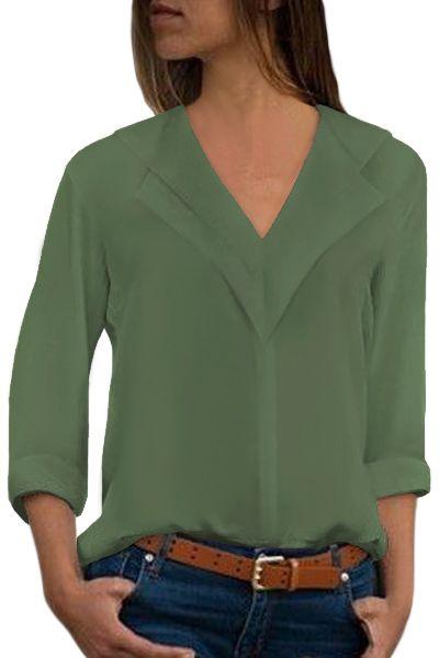 Sage Green Lapel V Neck Roll Sleeve Blouse