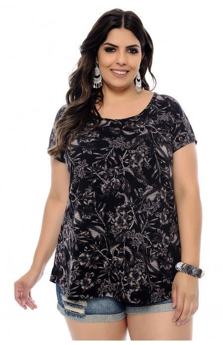 e5af526337ac2d Blusa Plus Size Flores Preta | clothing i like | Blusas, Blusa plus ...