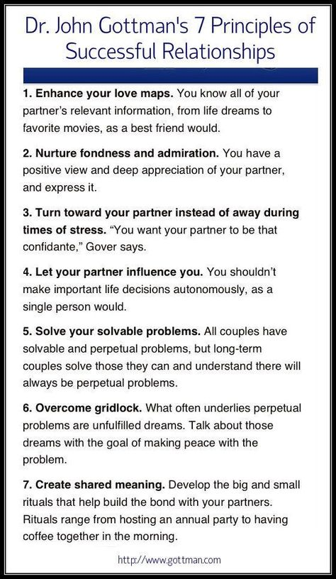 Dr. John Gottman's 7 Principles for Successful Relationships. How many are you practicing in your relationship right now?