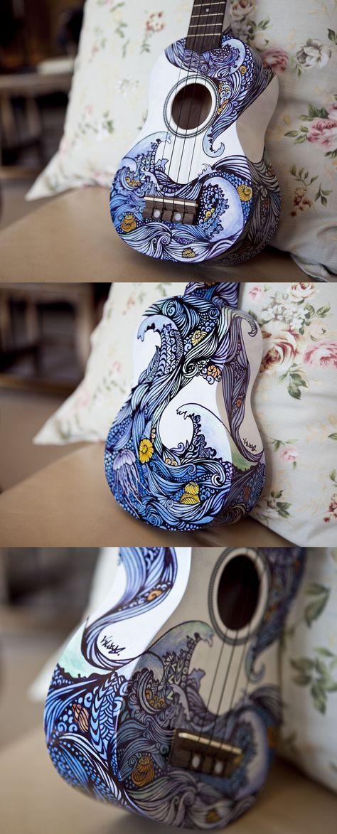 Ukulele Design - The Sea by vivsters ( http://vivsters.deviantart.com/art/Ukulele-Design-The-Sea-Front-348748437 )