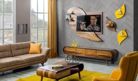 yaprak tv unitesi ceviz modern tv uniteleri mobilya fikirleri oturma odasi tasarimlari ev dekoru