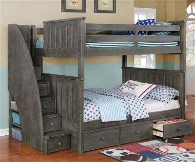 Brandon Full Over Full Bunk Bed With Stairs In Driftwood Gray Allen House Kids Loft Beds And Bunk Beds Cool Bunk Beds Bunk Beds With Storage Bunk Beds With Stairs