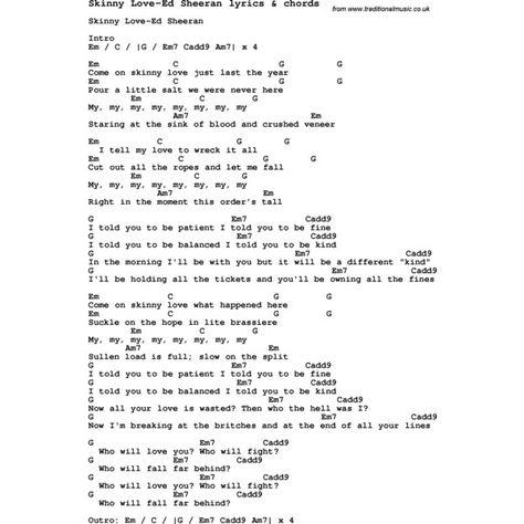 Enchanting Skinny Love Ed Sheeran Chords Ornament - Beginner Guitar ...