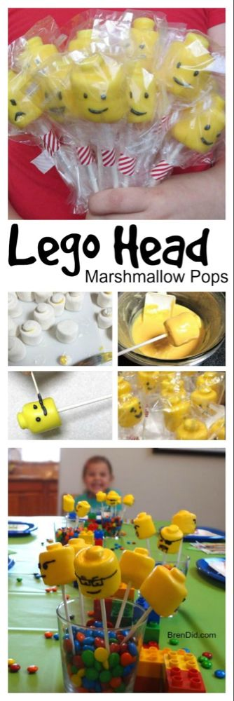 Lego Head Marshmallow Pops Recipe easy and adorable Lego Cake Pops for your Lego birthday party. Adorable Lego head decorations and treats. Lego Cake Pops, Cake Lego, Lego Head Cake, Lego Ninjago Cake, Lego Lego, Lego Batman, Lego Themed Party, Birthday Party Snacks, Snacks Für Party