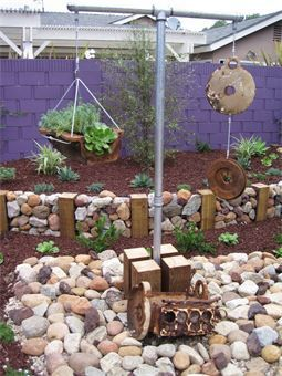 Funky Purple Landscaping With Rocks Green Landscape Lawn And Landscape