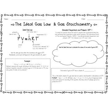 Ideal Gas Law And Stoichiometry Notes And Worksheets With Images