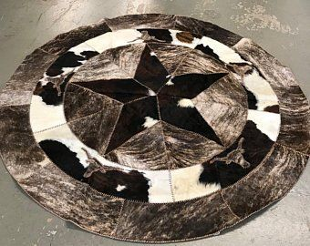 Cowhide Round Patchwork Rug With Texas Star And Longhorn In