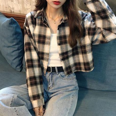 Blouses Shirts Women Plaid Long Sleeve Crop Top All-match Korean Style Leisure Preppy Street Loose Womens Fashion Ins Chic Retro - brown / S