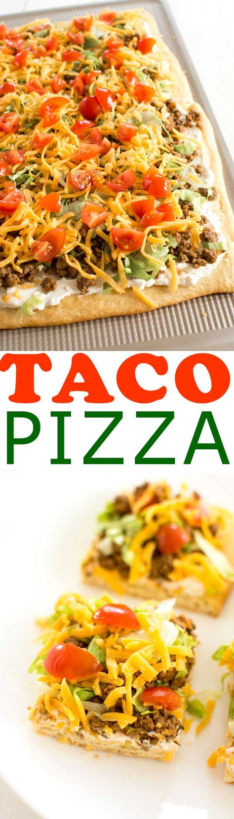 Taco Pizza Appetizer with a crescent roll crust. Easy cream cheese sauce is so zesty! #taco #pizza #tacotuesday #recipes #recipe #recipeideas #easyrecipe #food #foodgawker #foodblog #recipeoftheday #appetizer #cheese #partyfood #dinner