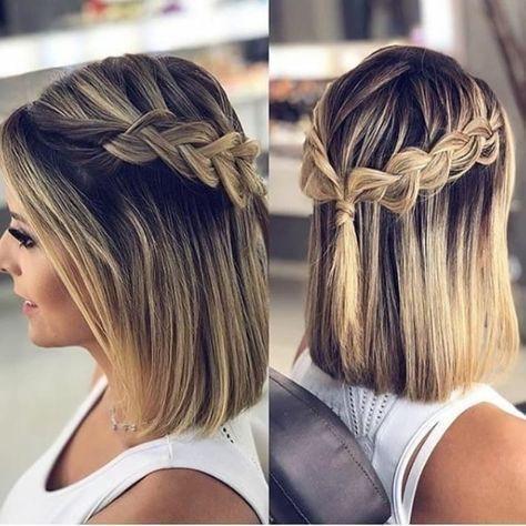 25 Stunning Hairstyles For Short Hair Trendy Hairstyles For The Prom Hair Hairstyle Hairstyles Pr Zopf Kurze Haare Geflochtene Frisuren Trendige Frisuren