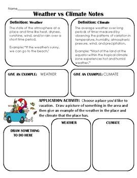 Climate Vs Weather Notes Application And Sorting Activity