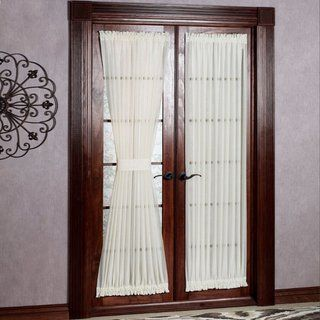 Semi Sheer 72 Inch Tailored Door Curtain Panel With Tieback 50 X 72 Door Panel Curtains Patio Door Curtains Door Curtains