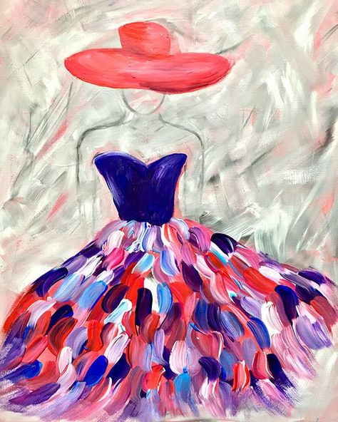 Acryl Acrylicpaintingoncanvaswoman Artmasters Farben Frau Hut