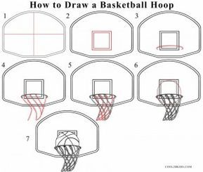 How To Draw A Basketball Hoop Step By Step Easy Drawings Ball Drawing Basket Drawing