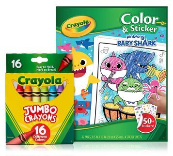 Baby Shark Coloring Set With Jumbo Crayons Crayola Com Crayola Jumbo Crayons Coloring Stickers Baby Shark