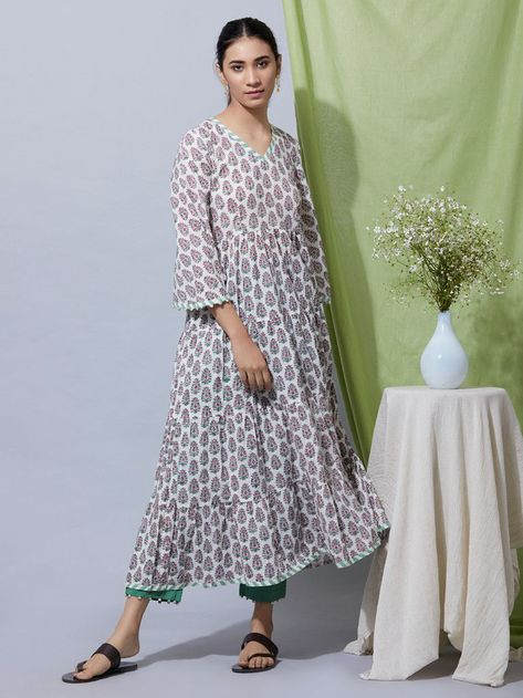 3a1199e366 Pink Green Block Printed Cotton Mul Flared Kurta with Pants - Set of 2