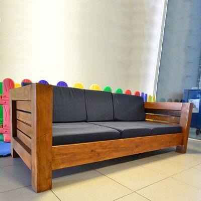 Sofa 3 Lugares De Madeira E Almofadas Modelo Design 43465 Em