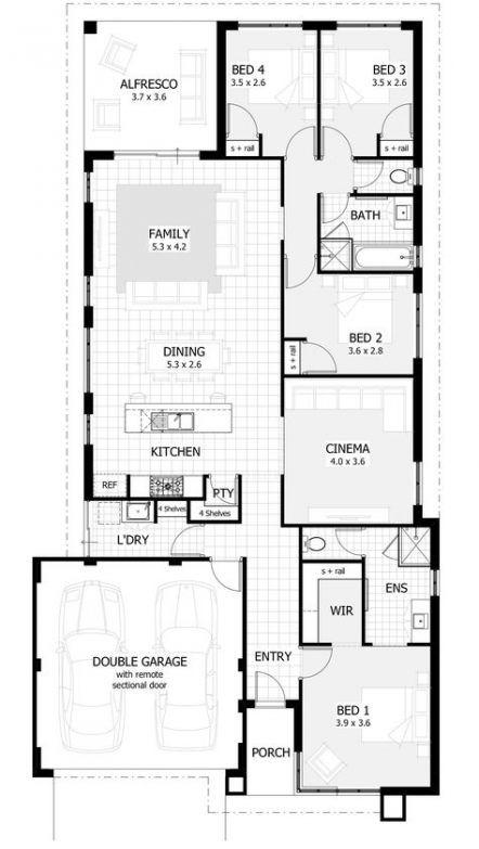 House Plans 4 Bedroom Narrow Lot Craftsman Homes 48 Super Ideas Single Storey House Plans Modern House Floor Plans Bedroom House Plans