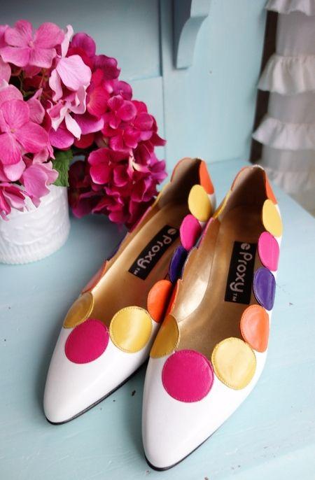 Vintage 1980's Colorful Mod Circles Leather Shoes Proxy NOS $45
