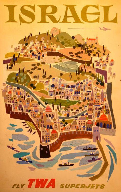 Tel Aviv Israel 1951 Swiss Airline Vintage Poster Print Retro Style Art
