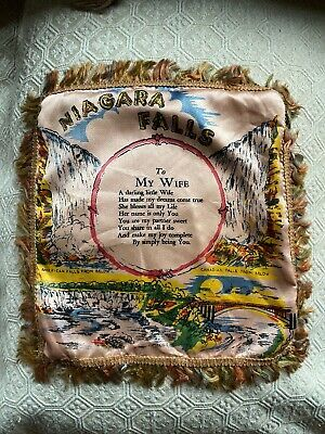 Vintage Wwii Niagara Falls Satin Wife Souvenir Fringe Pillow Case Pink Blue Ebay Fringe Pillows Silk Pillow Cover Things To Sell