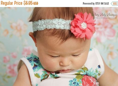 SALE Coral and Aqua Lace Baby Headband..Newborn Headband.. Coral  and Mint Headband..Infant Headband....Baby Headbands