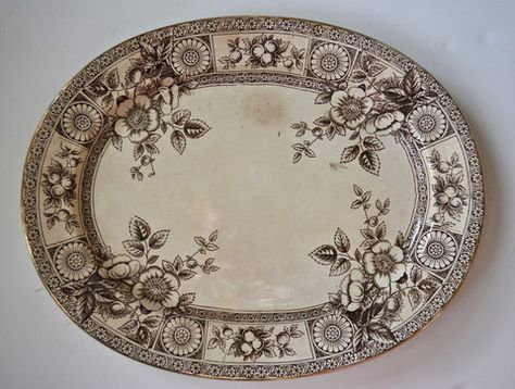 Antique English Victorian Aesthetic Movement Brown Transferware Platter Sunflower Medallion & Botanicals
