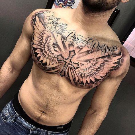 Amazing artist Dean Fitzgerald Dean Fitzgerald from Boston awesome cross sky win… Amazing artist Dean Fitzgerald Dean Fitzgerald from Boston awesome cross sky wings chest tattoo!