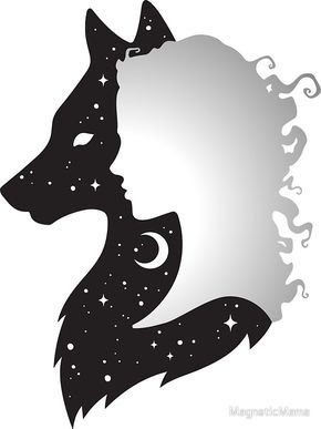 She Wolf Woman and Wolf with Moon and Stars by MagneticMama