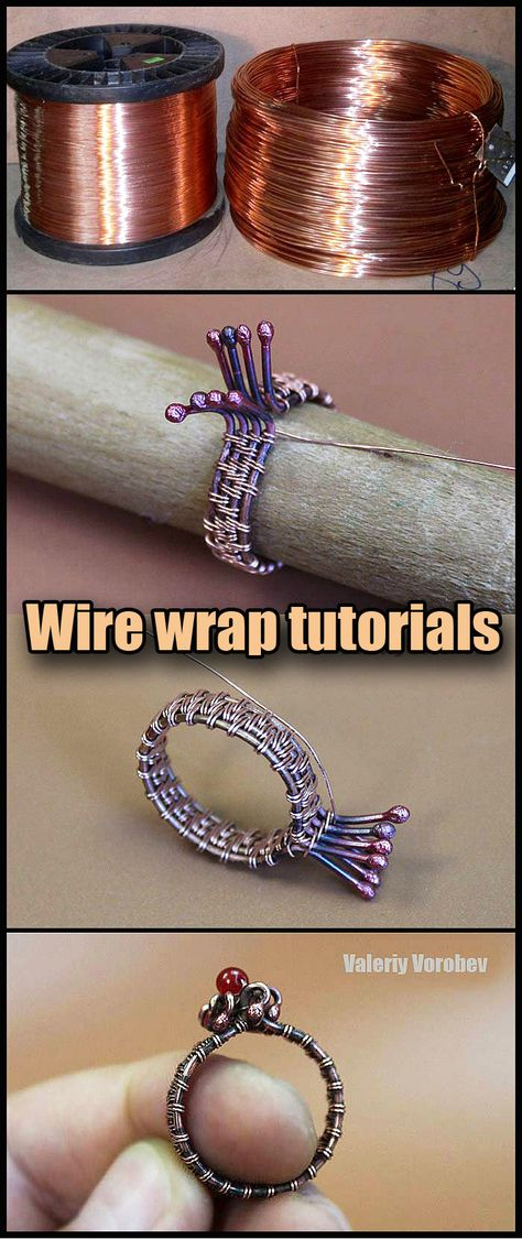 Wire Jewelry Rings, Handmade Wire Jewelry, Wire Jewelry Designs, Metal Jewelry, Wire Earrings, Jewelery, Wire Wrapping Tutorial, Wire Wrapped Rings, Wire Weaving