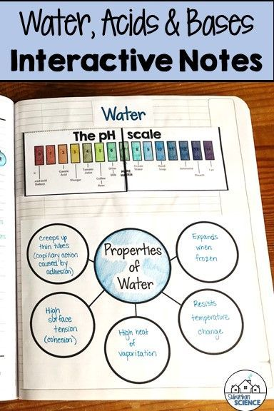 Properties Of Water Notes Acids And Bases Interactive Science Notebook Interactive Notebooks High School Chemistry